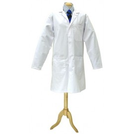 White Poly Cotton Coat (Mens) Large 116cm