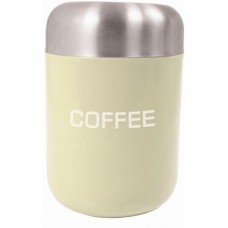 Canister Coffee Cream Stainless Steel Lid 15cm x 4.5cm