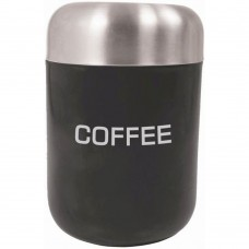 Canister Coffee Black Stainless Steel Lid 15cm x 4.5cm