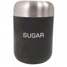 Canister Sugar Black Stainless Steel Lid 15cm x 4.5cm