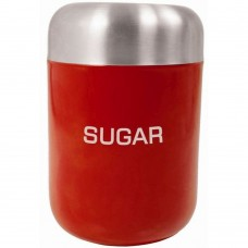 Canister Sugar Red Stainless Steel Lid 15cm x 4.5cm