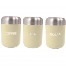 Canister Set Tea/Coffee/Sugar Cream Stainless Steel Lid 15cm x 4.5cm