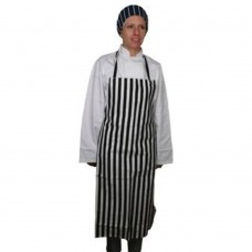 Apron Bib Black &White Stripe