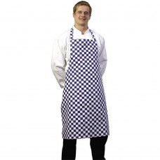 Apron Bib Blue &White Check