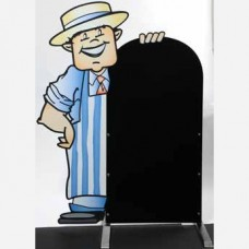 Blue/White Butcher Pavement Character Display Board 990 x 590mm