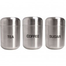 Canisters Brushed Stainless Steel Tea/Coffee/Sugar with Dome Lid