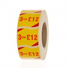 3 for £12 Label Red on White  51x25mm