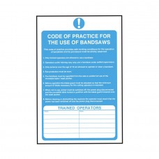 Code of Practice for Bandsaws Safety Sign 300x200mm