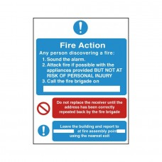 3 Part Fire Action Safety Sign Self-adhesive Vinyl  200x150mm