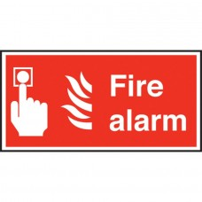 Fire Alarm Text & Symbol Sign Self Adhesive Vinyl 100x200mm