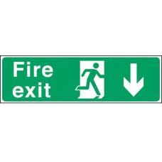 Fire Exit Man Arrow Down Self-adhesive Vinyl 150x450mm