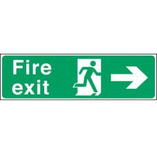 Fire Exit Man Arrow Right Self-adhesive Vinyl 150x450mm