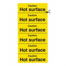 Caution Hot Surface Safety Sign Self Adhesive Vinyl 200x100mm
