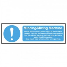 Mincing / Mixing Machine Safety Sign Self Adhesive Vinyl 100x300mm