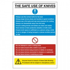 The Safe Use of Knives Notice Self Adhesive Vinyl 200x300mm