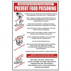 Prevent Food Poisoning Notice Self Adhesive Vinyl 300x200mm
