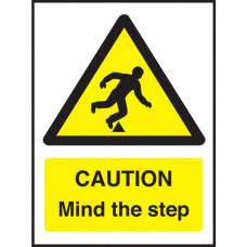 Caution Mind the Step Notice Self Adhesive Vinyl 200x150mm