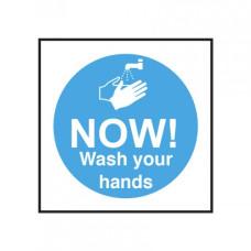 Now Wash Your Hands Notice Self Adhesive Vinyl 100x100mm