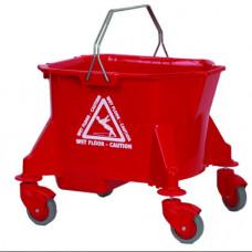 23L Mop Bucket on Wheels Red