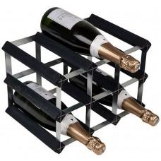 Wine Rack Assembled 9Btl 3'x2' Black Ash Pine