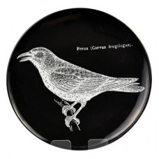 White Melamine Plate with Black Bird  267mm Dia