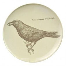White Melamine Platewith Grey Bird  267mm Dia