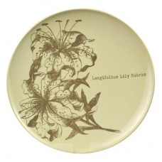 White Melamine Plate with Grey Flower 267mm Dia