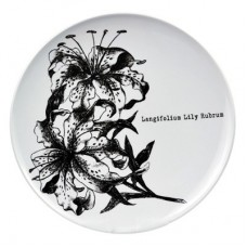 White Melamine Plate 267mm Dia with Flower White