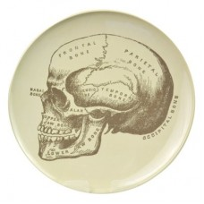 Melamine Plate White with Grey Skull 267mm Dia