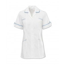 D258 WHITE TUNIC TRIMED HOSPITAL BLUE 10